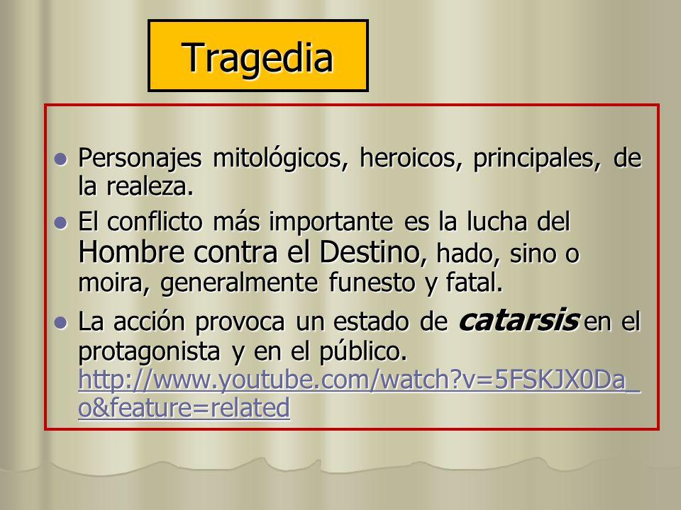 Tragedia Personajes mitológicos, heroicos, principales, de la realeza. Personajes mitológicos, heroicos, principales, de la realeza. El conflicto más