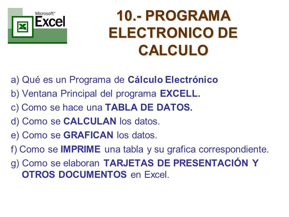10.- PROGRAMA ELECTRONICO DE CALCULO a) Qué es un Programa de Cálculo Electrónico b) Ventana Principal del programa EXCELL. c) Como se hace una TABLA