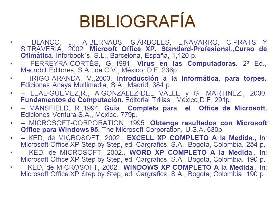 BIBLIOGRAFÍA -- BLANCO, J., A.BERNAUS, S.ÁRBOLES, L.NAVARRO, C.PRATS Y S.TRAVERÍA, 2002. Microoft Office XP, Standard-Profesional.,Curso de Ofimática.