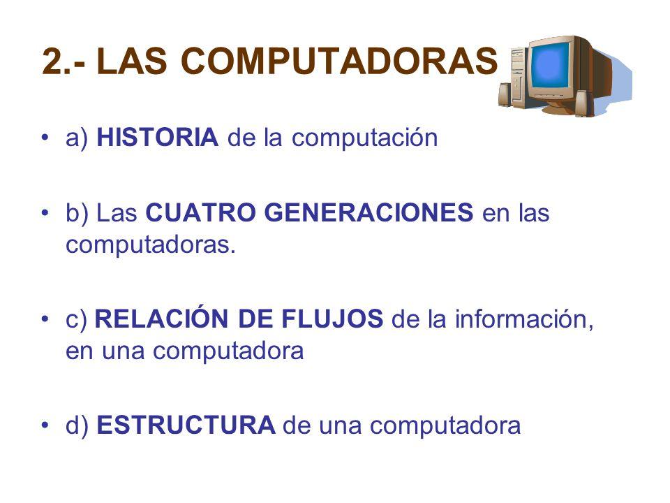 2.- LAS COMPUTADORAS a) HISTORIA de la computación b) Las CUATRO GENERACIONES en las computadoras. c) RELACIÓN DE FLUJOS de la información, en una com