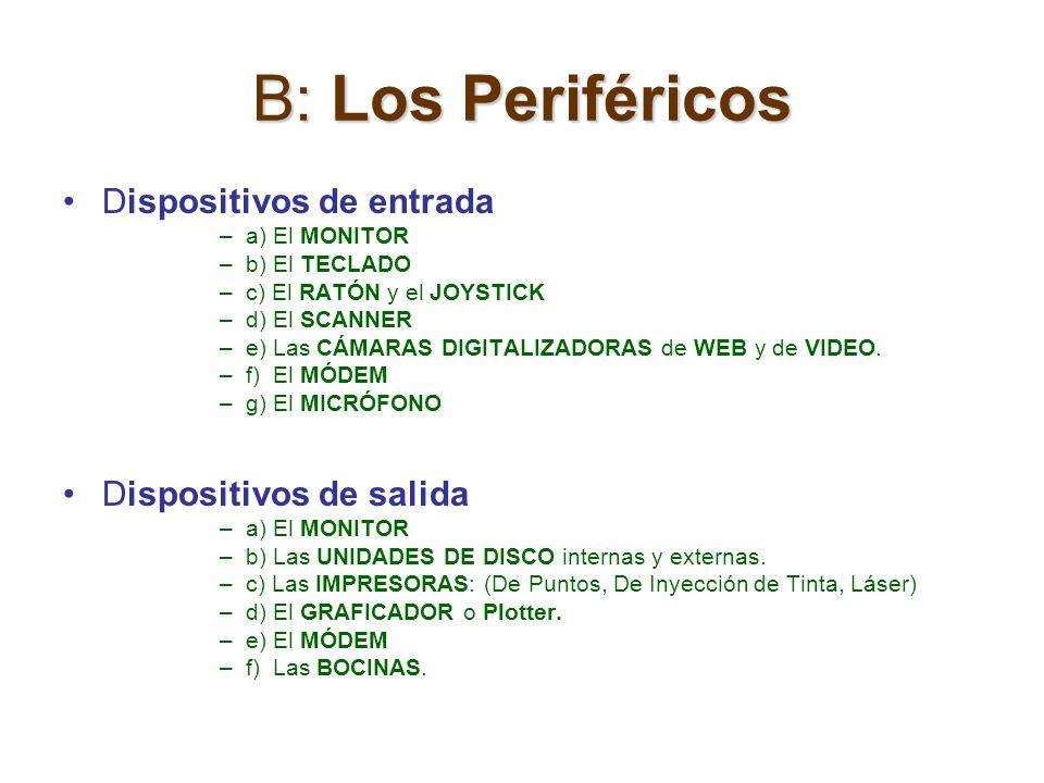 B: Los Periféricos Dispositivos de entrada –a) El MONITOR –b) El TECLADO –c) El RATÓN y el JOYSTICK –d) El SCANNER –e) Las CÁMARAS DIGITALIZADORAS de
