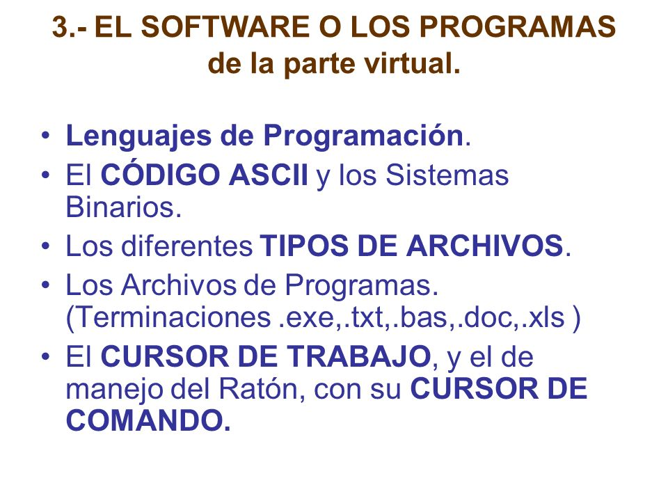 4.- EL SISTEMA OPERATIVO (MS-DOS 6.22) Control y manejo de: a) EL PROCESADOR b) LAS MEMORIAS c) LOS DISPOSITIVOS DE ENTRADA / SALIDA d) LA INFORMACIÓN Y LOS PROGRAMAS DE TRABAJO.