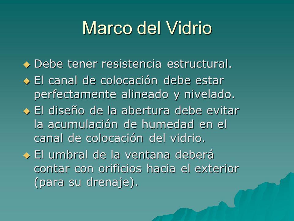 Marco del Vidrio Debe tener resistencia estructural.