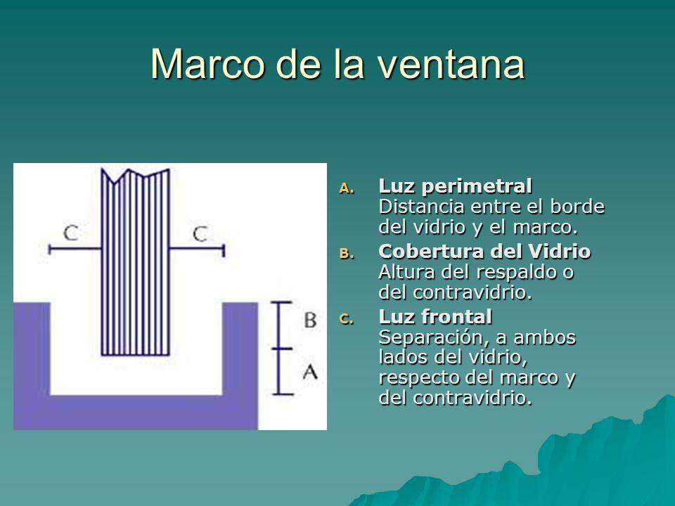 Marco de la ventana A. Luz perimetral Distancia entre el borde del vidrio y el marco.