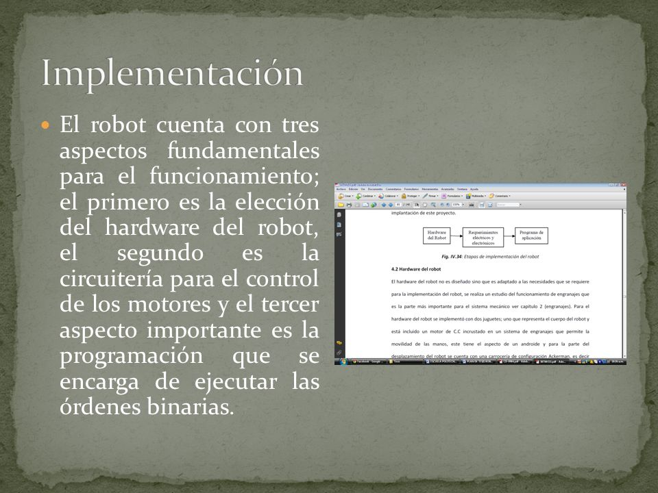 El robot cuenta con tres aspectos fundamentales para el funcionamiento; el primero es la elección del hardware del robot, el segundo es la circuitería