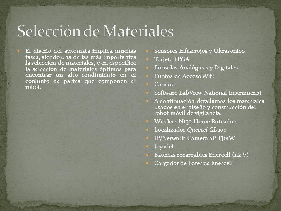El diseño del autómata implica muchas fases, siendo una de las más importantes la selección de materiales, y en específico la selección de materiales