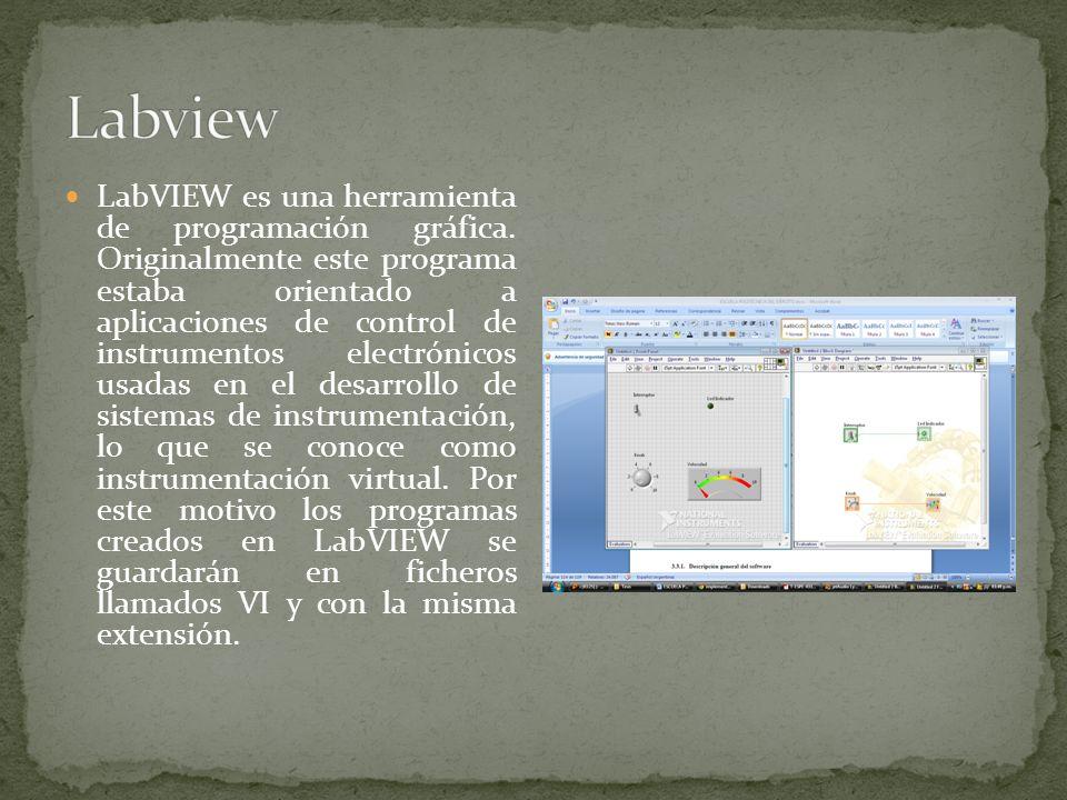 LabVIEW es una herramienta de programación gráfica. Originalmente este programa estaba orientado a aplicaciones de control de instrumentos electrónico