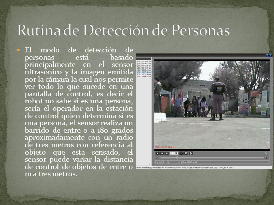 El modo de detección de personas está basado principalmente en el sensor ultrasónico y la imagen emitida por la cámara la cual nos permite ver todo lo