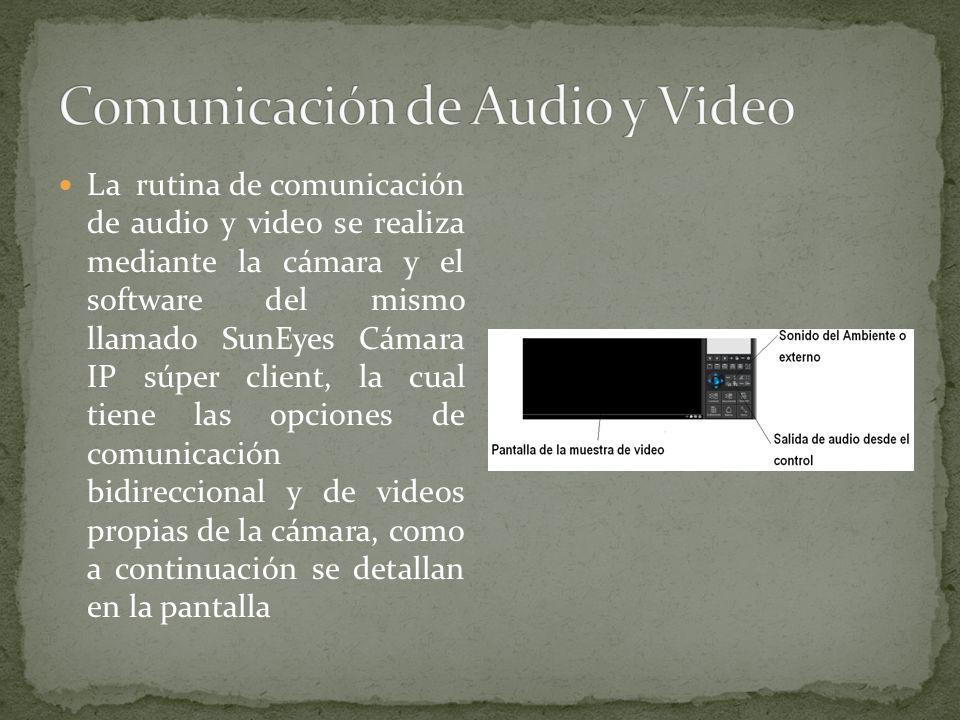 La rutina de comunicación de audio y video se realiza mediante la cámara y el software del mismo llamado SunEyes Cámara IP súper client, la cual tiene