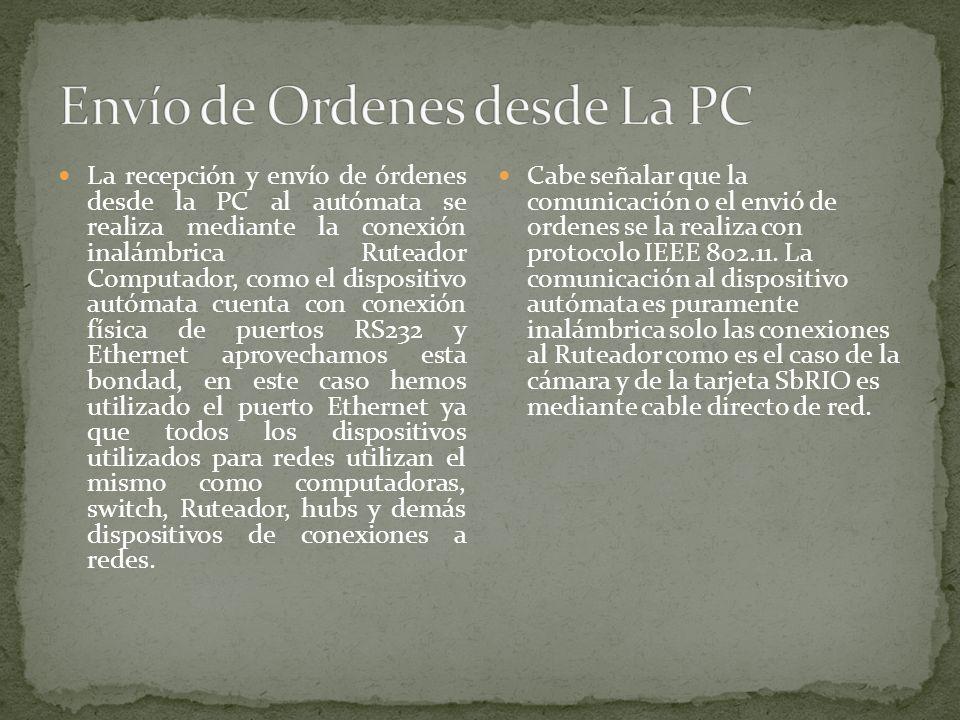 La recepción y envío de órdenes desde la PC al autómata se realiza mediante la conexión inalámbrica Ruteador Computador, como el dispositivo autómata