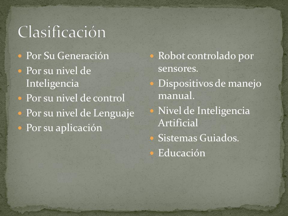 Por Su Generación Por su nivel de Inteligencia Por su nivel de control Por su nivel de Lenguaje Por su aplicación Robot controlado por sensores. Dispo