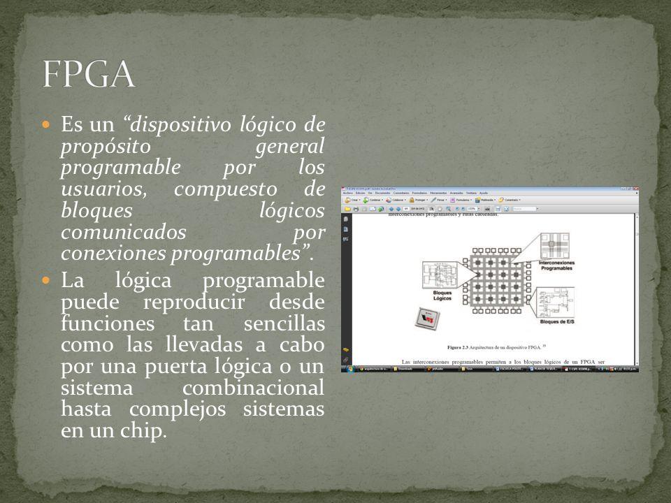 Es un dispositivo lógico de propósito general programable por los usuarios, compuesto de bloques lógicos comunicados por conexiones programables. La l