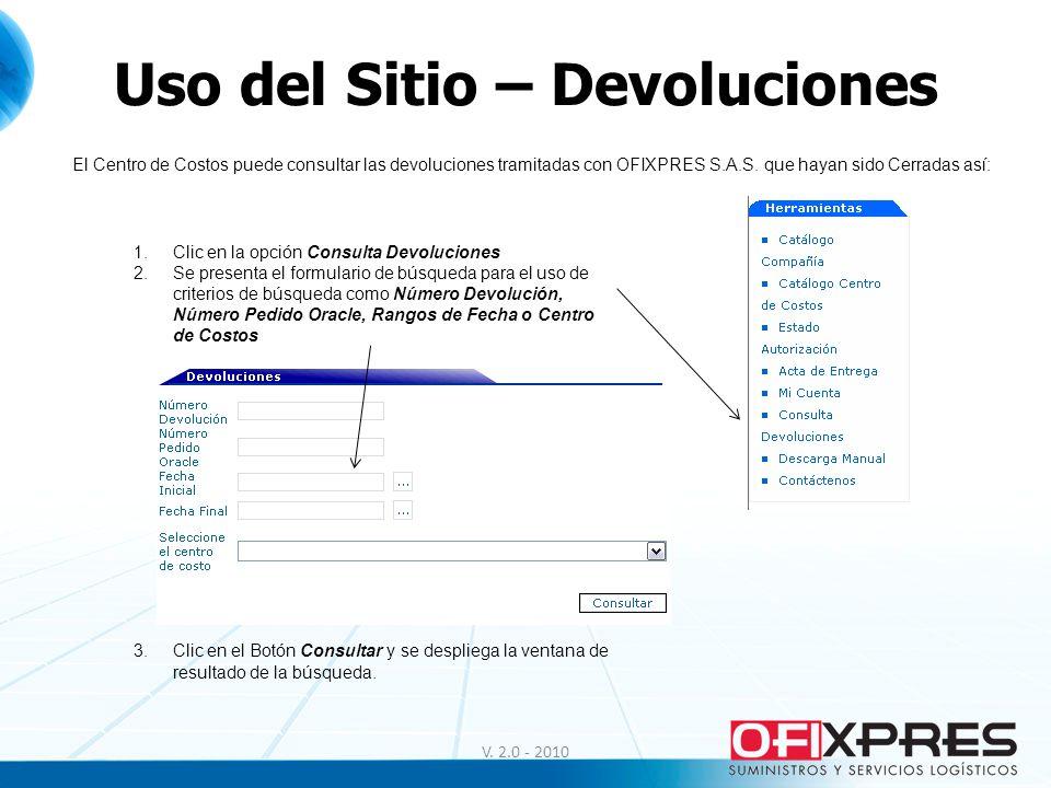Uso del Sitio – Devoluciones V. 2.0 - 2010 El Centro de Costos puede consultar las devoluciones tramitadas con OFIXPRES S.A.S. que hayan sido Cerradas