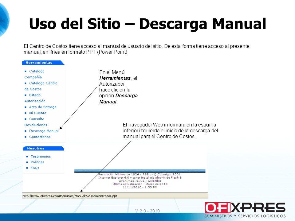Uso del Sitio – Descarga Manual V. 2.0 - 2010 El Centro de Costos tiene acceso al manual de usuario del sitio. De esta forma tiene acceso al presente