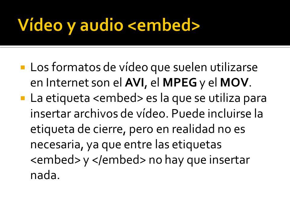 Los formatos de vídeo que suelen utilizarse en Internet son el AVI, el MPEG y el MOV. La etiqueta es la que se utiliza para insertar archivos de vídeo