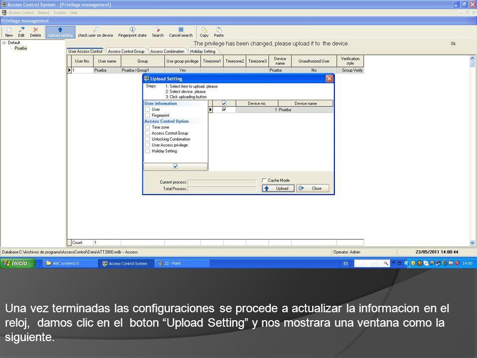 Una vez terminadas las configuraciones se procede a actualizar la informacion en el reloj, damos clic en el boton Upload Setting y nos mostrara una ventana como la siguiente.