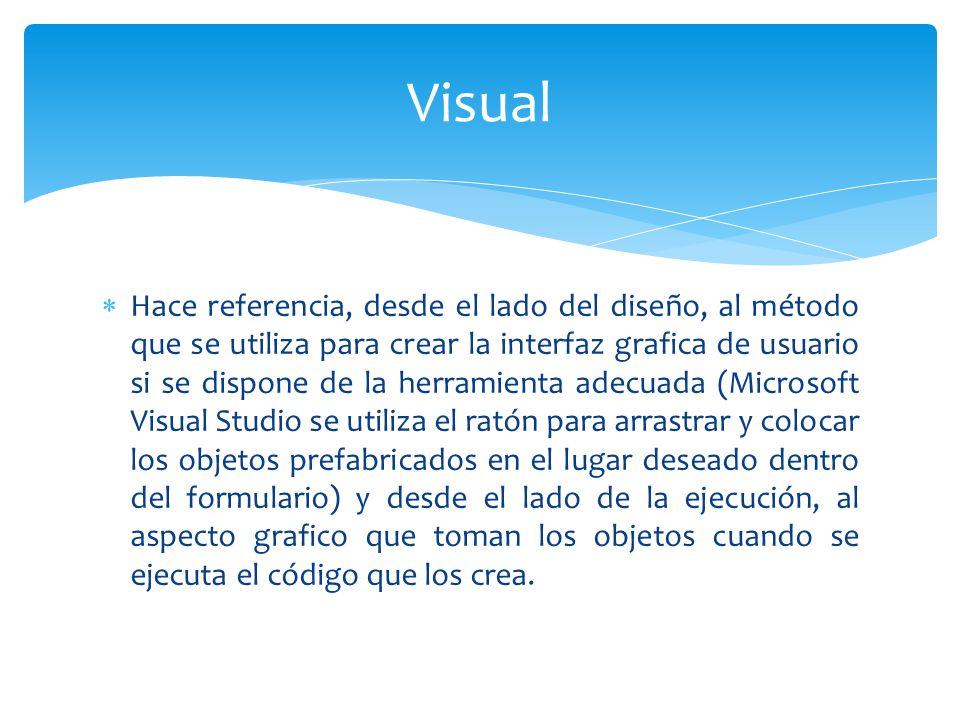Hace referencia, desde el lado del diseño, al método que se utiliza para crear la interfaz grafica de usuario si se dispone de la herramienta adecuada