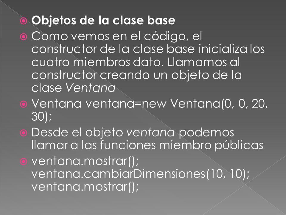 Objetos de la clase base Como vemos en el código, el constructor de la clase base inicializa los cuatro miembros dato.