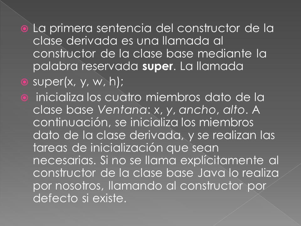La primera sentencia del constructor de la clase derivada es una llamada al constructor de la clase base mediante la palabra reservada super.