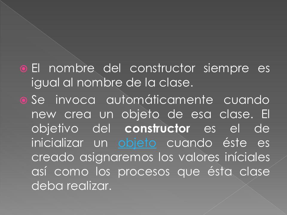 El nombre del constructor siempre es igual al nombre de la clase.