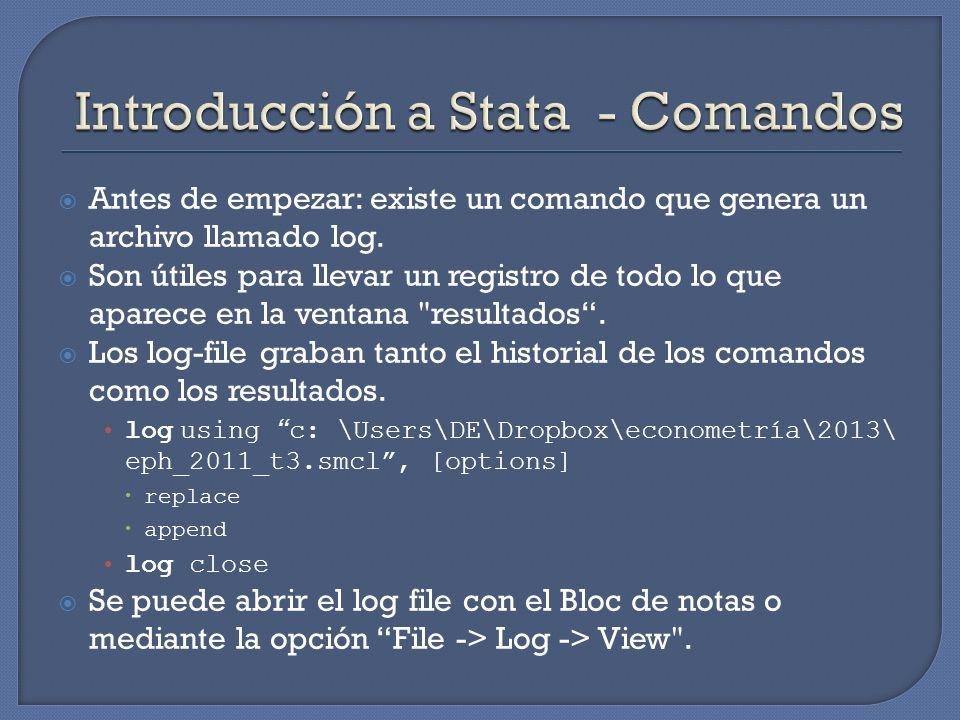 Antes de empezar: existe un comando que genera un archivo llamado log. Son útiles para llevar un registro de todo lo que aparece en la ventana