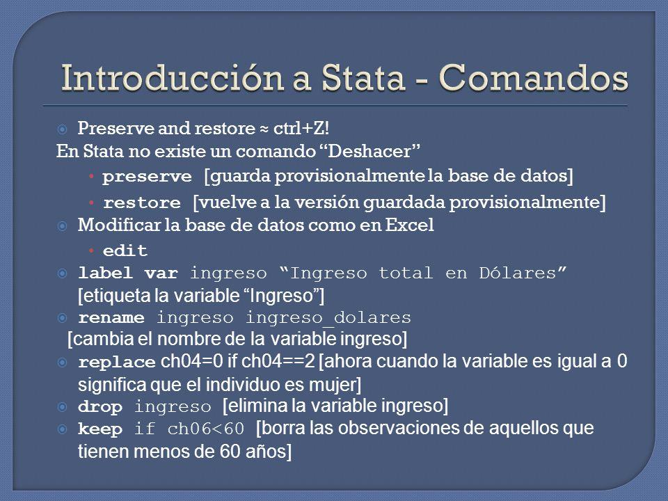 Preserve and restore ctrl+Z! En Stata no existe un comando Deshacer preserve [guarda provisionalmente la base de datos] restore [vuelve a la versión g