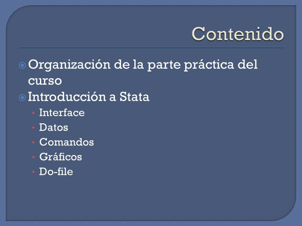 Organización de la parte práctica del curso Introducción a Stata Interface Datos Comandos Gráficos Do-file