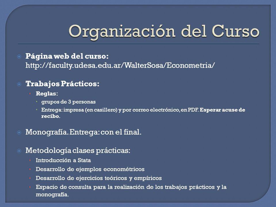 Página web del curso: http://faculty.udesa.edu.ar/WalterSosa/Econometria/ Trabajos Prácticos: Reglas: grupos de 3 personas Entrega: impresa (en casill