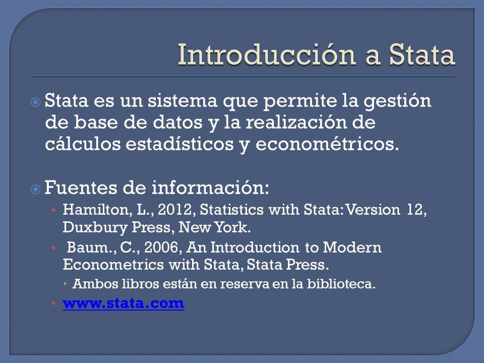 Stata es un sistema que permite la gestión de base de datos y la realización de cálculos estadísticos y econométricos. Fuentes de información: Hamilto