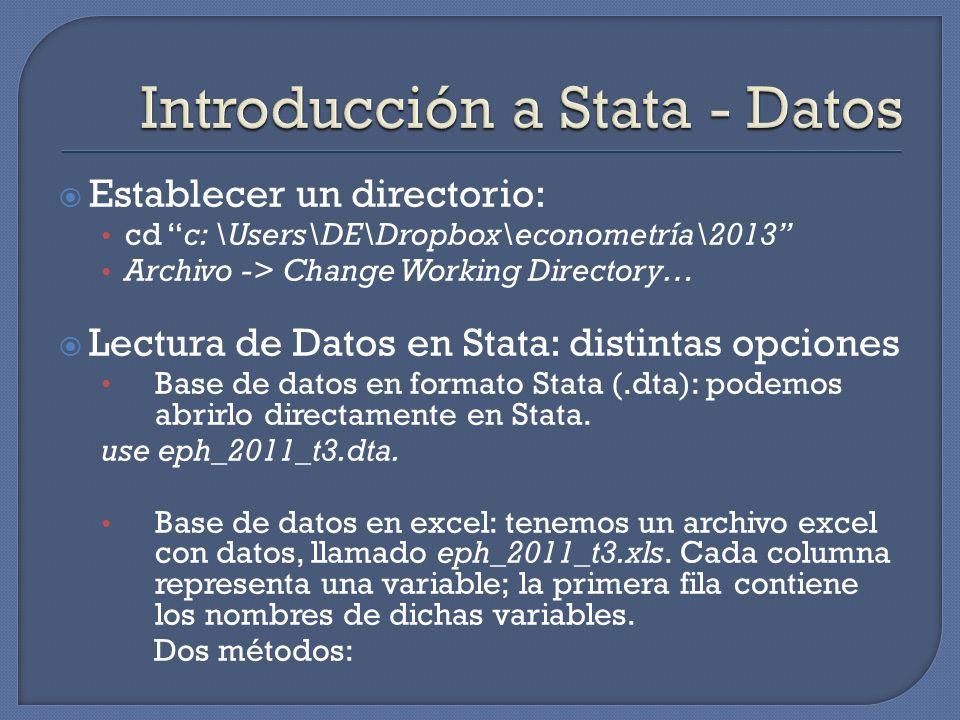 Establecer un directorio: cd c: \Users\DE\Dropbox\econometría\2013 Archivo -> Change Working Directory… Lectura de Datos en Stata: distintas opciones