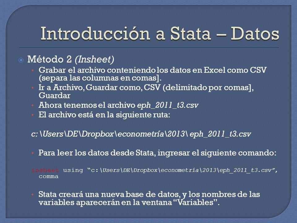 Método 2 (Insheet) Grabar el archivo conteniendo los datos en Excel como CSV (separa las columnas en comas]. Ir a Archivo, Guardar como, CSV (delimita