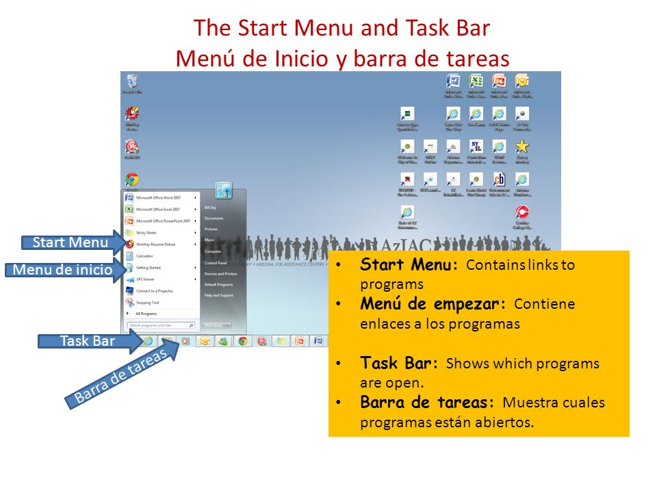 The Start Menu and Task Bar Menú de Inicio y barra de tareas Menu de inicio Start Menu: Contains links to programs Menú de empezar: Contiene enlaces a los programas Task Bar: Shows which programs are open.