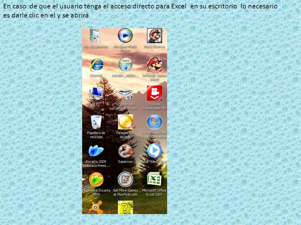 En caso de que el usuario tenga el acceso directo para Excel en su escritorio lo necesario es darle clic en el y se abrirá