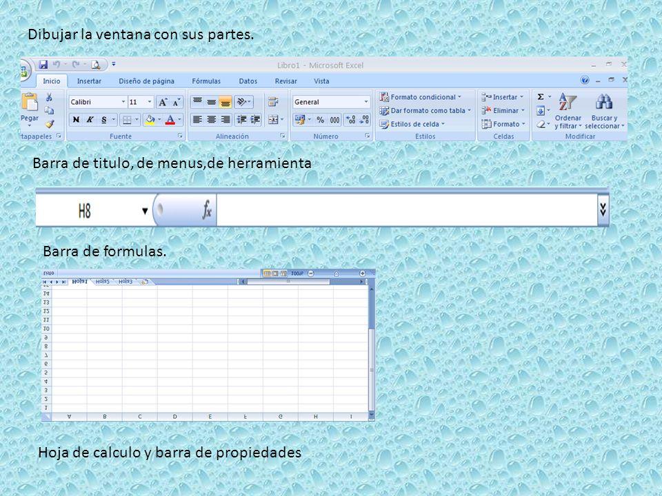 Dibujar la ventana con sus partes. Barra de titulo, de menus,de herramienta Barra de formulas. Hoja de calculo y barra de propiedades