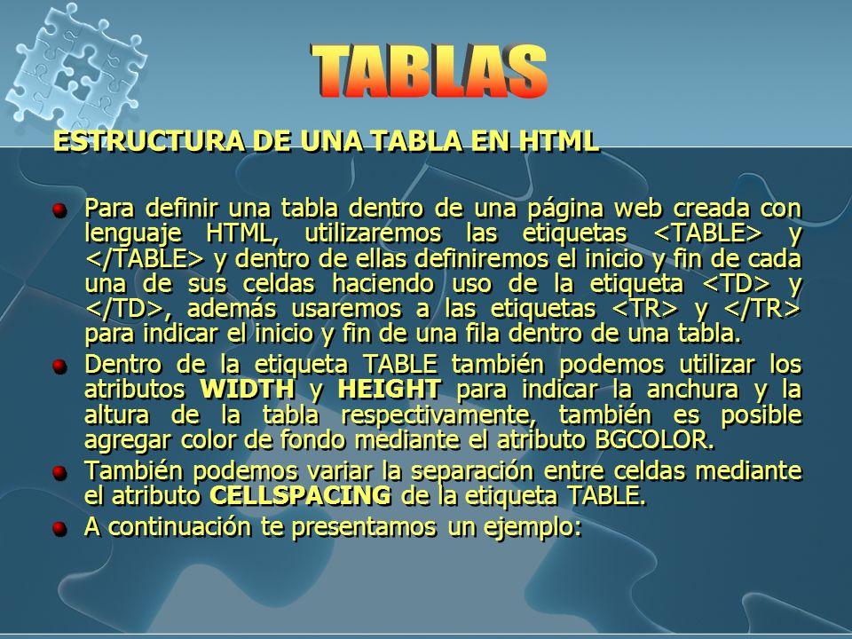 ESTRUCTURA DE UNA TABLA EN HTML Para definir una tabla dentro de una página web creada con lenguaje HTML, utilizaremos las etiquetas y y dentro de ell
