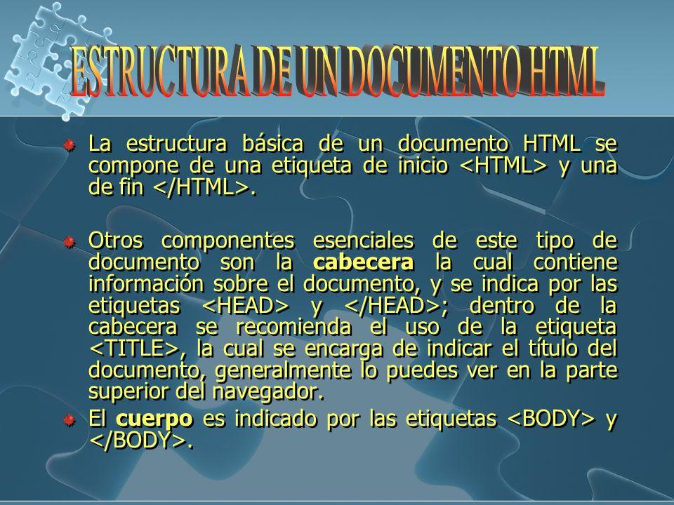 La estructura básica de un documento HTML se compone de una etiqueta de inicio y una de fin. Otros componentes esenciales de este tipo de documento so