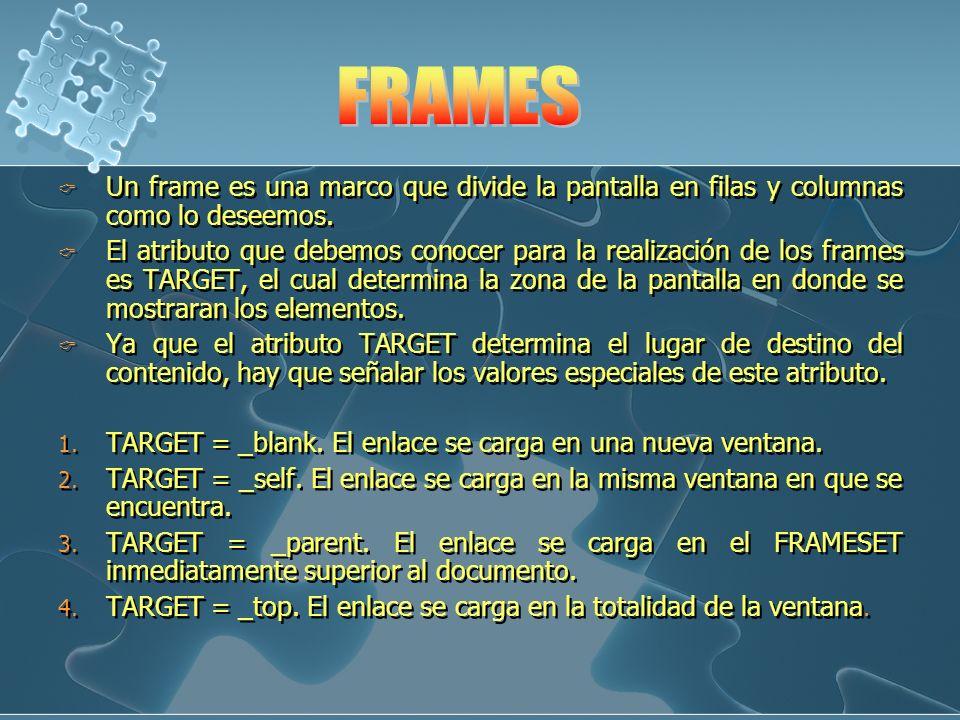 Un frame es una marco que divide la pantalla en filas y columnas como lo deseemos. El atributo que debemos conocer para la realización de los frames e