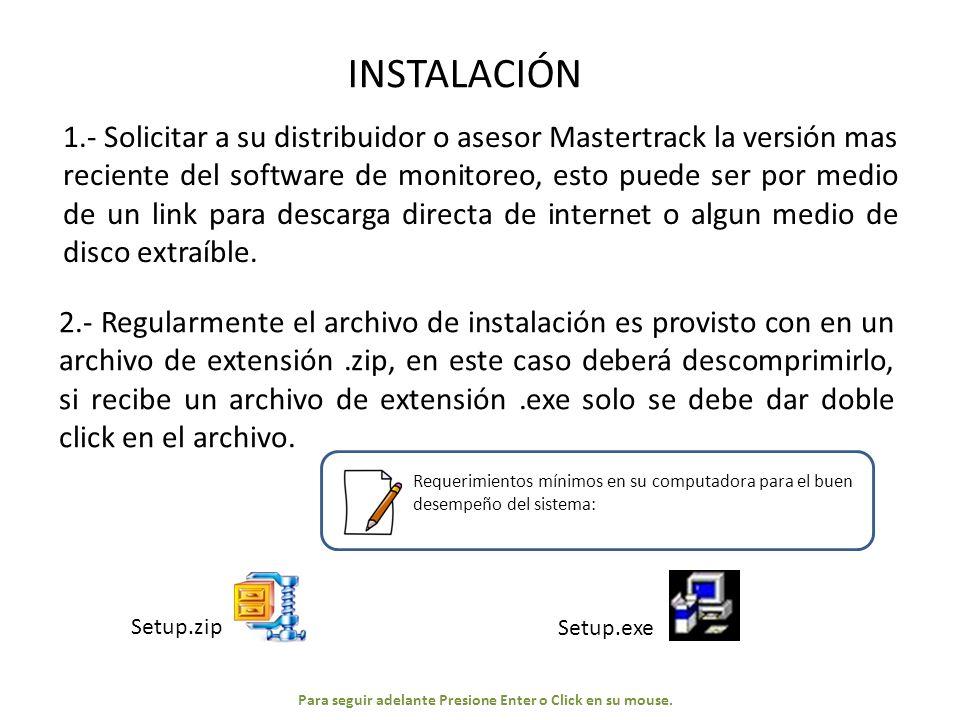 PANTALLA PRINCIPAL DE RASTREO CONFIGURACIÓN INICIAL Configuración recomendada: Español.