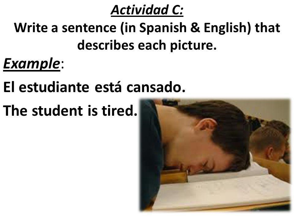 Actividad C: Write a sentence (in Spanish & English) that describes each picture. Example: El estudiante está cansado. The student is tired.