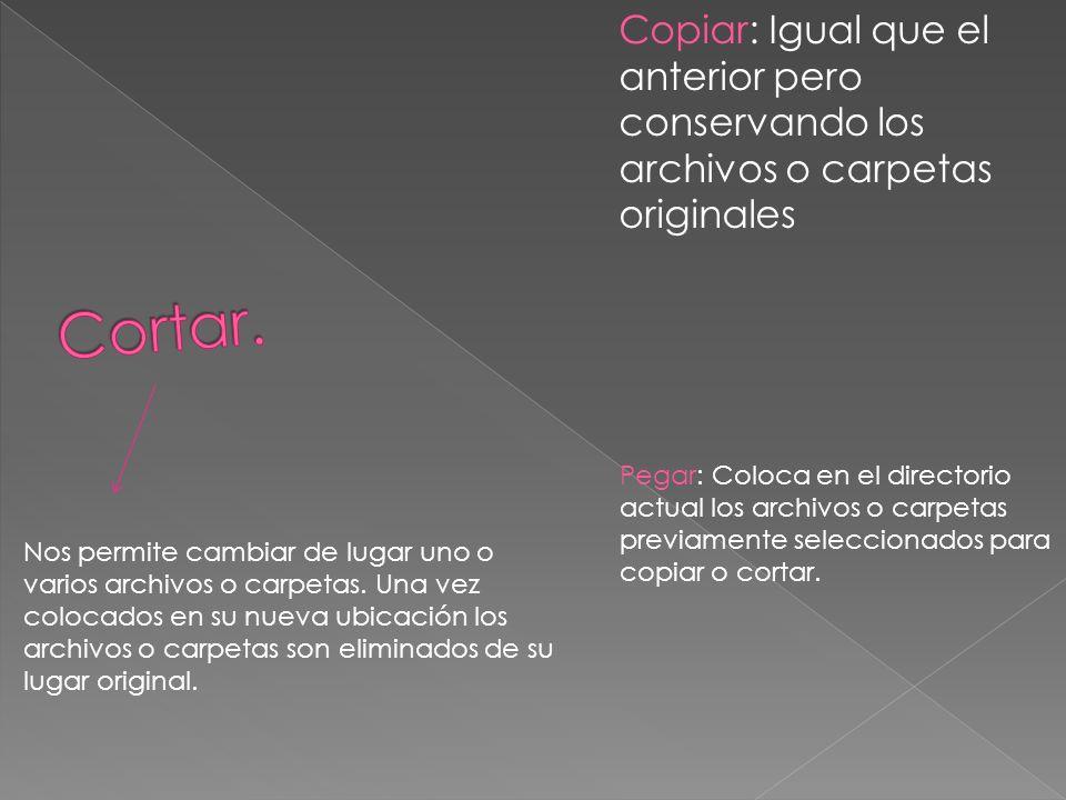 Panel de visualización. Es la zona central y más grande de la aplicación en la que se listan los contenidos de la carpeta.