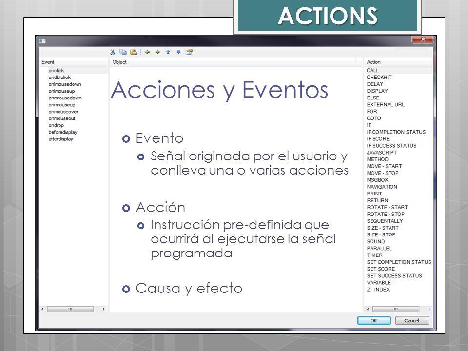 Evento Señal originada por el usuario y conlleva una o varias acciones Acción Instrucción pre-definida que ocurrirá al ejecutarse la señal programada