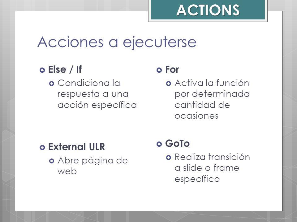 Acciones a ejecuterse Else / If Condiciona la respuesta a una acción específica External ULR Abre página de web For Activa la función por determinada