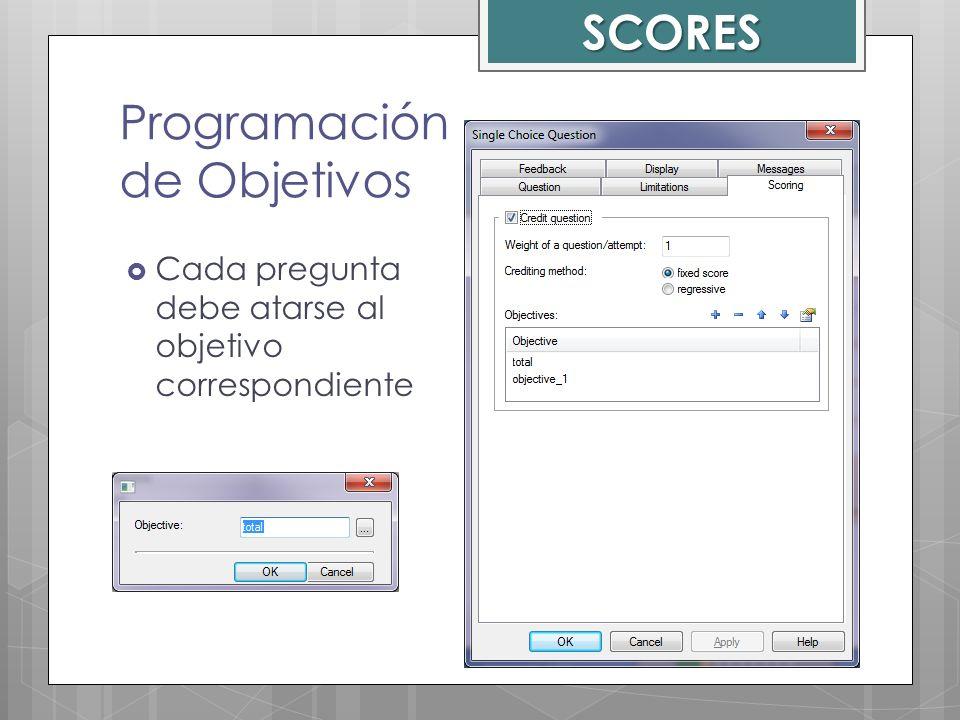 Programación de Objetivos Cada pregunta debe atarse al objetivo correspondiente SCORES