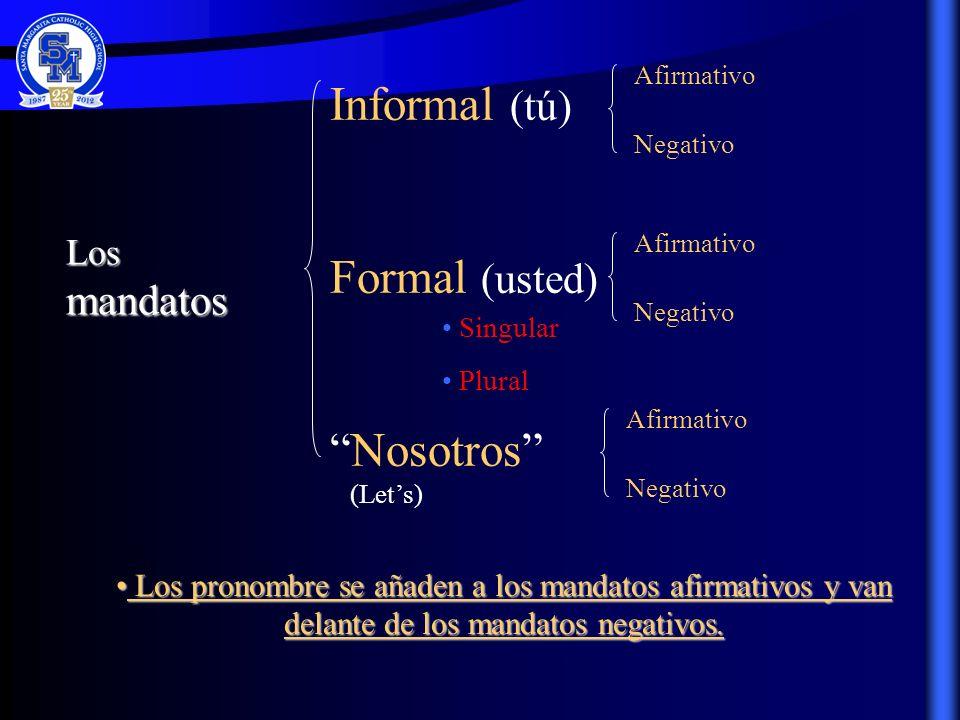 Informal (tú) Formal (usted) Nosotros (Lets)Los mandatos Singular Plural Afirmativo Negativo Afirmativo Negativo Afirmativo Negativo L Los pronombre s