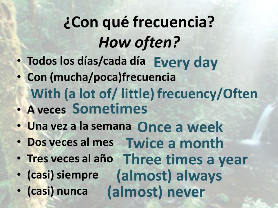 ¿Con qué frecuencia? How often? Todos los días/cada día Con (mucha/poca)frecuencia A veces Una vez a la semana Dos veces al mes Tres veces al año (cas