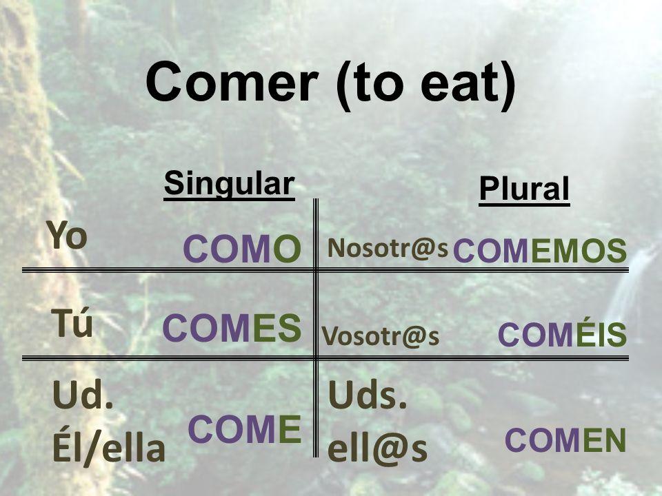 Comer (to eat) Singular COMO COMES COME Plural COMEMOS COMÉIS COMEN Yo Uds. ell@s Vosotr@s Nosotr@s Tú Ud. Él/ella