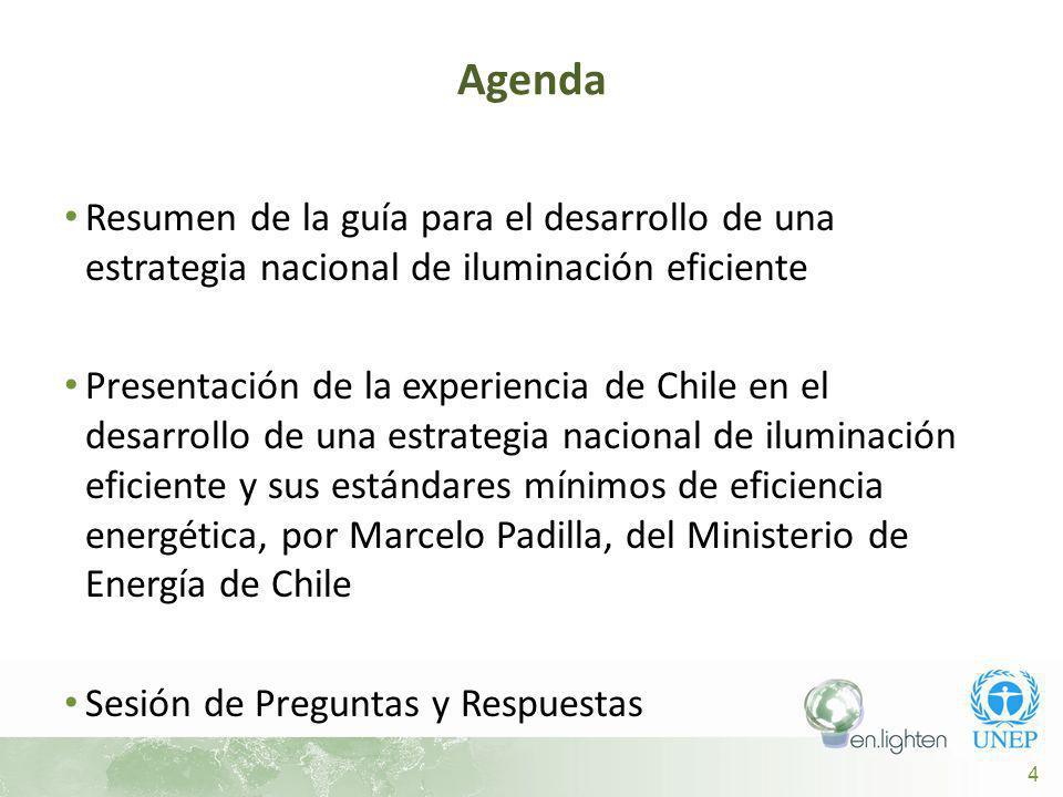 4 Resumen de la guía para el desarrollo de una estrategia nacional de iluminación eficiente Presentación de la experiencia de Chile en el desarrollo de una estrategia nacional de iluminación eficiente y sus estándares mínimos de eficiencia energética, por Marcelo Padilla, del Ministerio de Energía de Chile Sesión de Preguntas y Respuestas Agenda