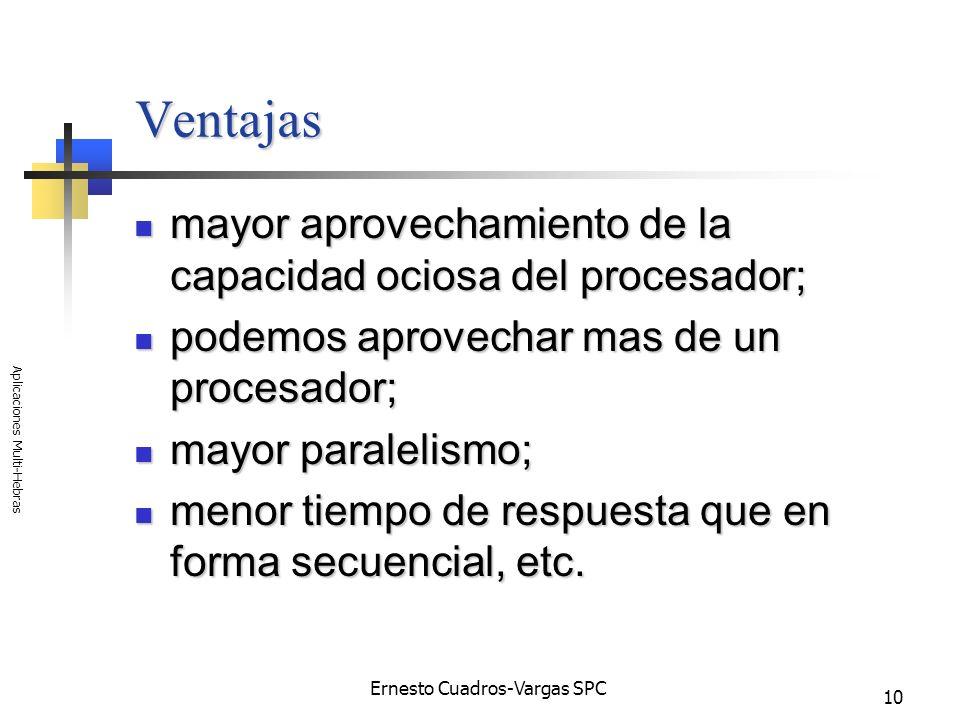Ernesto Cuadros-Vargas SPC Aplicaciones Multi-Hebras 10 Ventajas mayor aprovechamiento de la capacidad ociosa del procesador; mayor aprovechamiento de