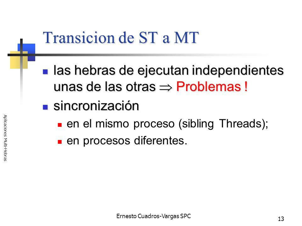 Ernesto Cuadros-Vargas SPC Aplicaciones Multi-Hebras 13 Transicion de ST a MT las hebras de ejecutan independientes unas de las otras Problemas ! las