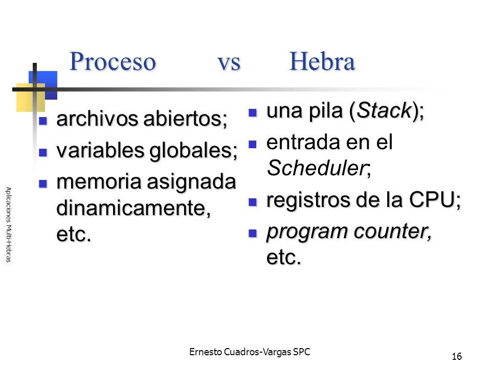 Ernesto Cuadros-Vargas SPC Aplicaciones Multi-Hebras 16 Proceso vs Hebra una pila (Stack); una pila (Stack); entrada en el Scheduler; registros de la